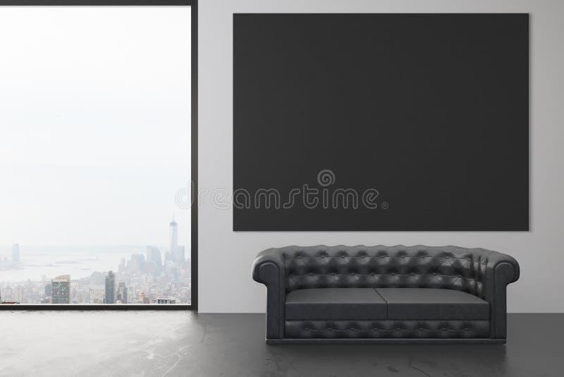 Pusty czarny plakat na ścianie w loft pokoju z czarną skórą s zdjęcie royalty free