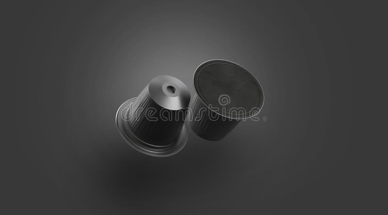 Pusty czarny plastikowy kawowy kapsuły mockup, odizolowywający na ciemności royalty ilustracja