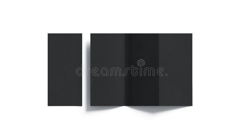 Pusty czarny tri fałdowy broszury mockup otwierający i zamykający, obrazy stock