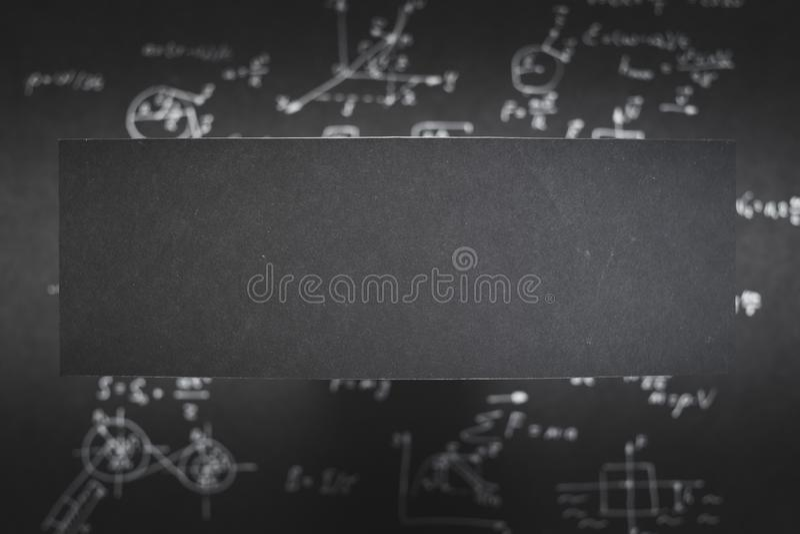 Pusty czerń papieru nauki równania plamy tło zdjęcia stock