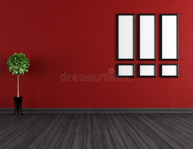Pusty czerwieni i czerni pokój ilustracja wektor