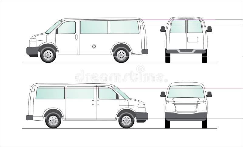 pusty doręczeniowy ilustracyjny samochodu dostawczy biel ilustracji