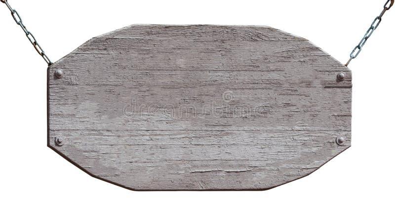 Pusty drewnianej deski obwieszenie na łańcuchach odizolowywających na bielu zdjęcia stock