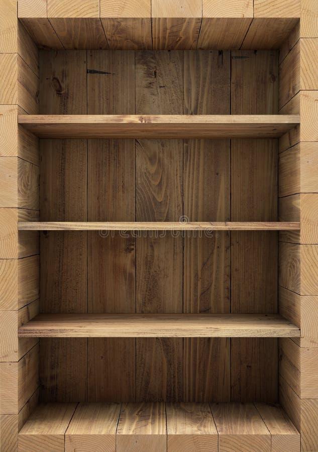 Pusty drewniany półka na książki świadczenia 3 d ilustracja wektor