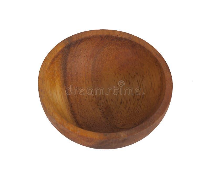 Pusty Drewniany puchar, odosobniony, odgórny widok, obrazy royalty free