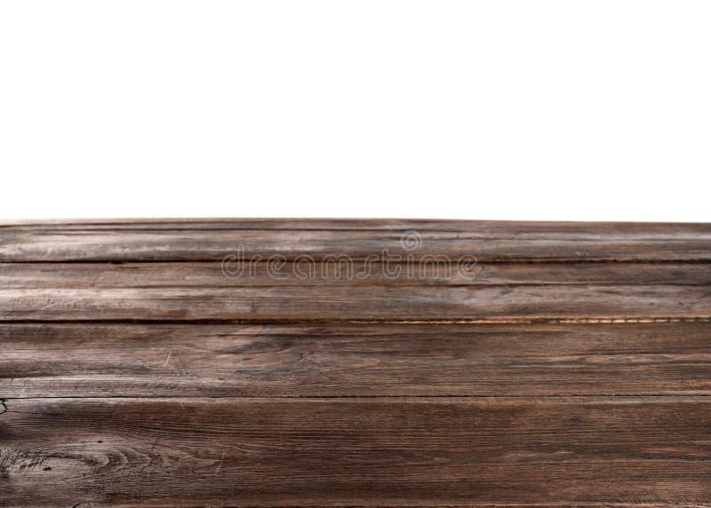 Pusty drewniany stół na białym tle obraz stock