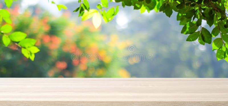 Pusty drewniany stół nad zamazanym drzewem z bokeh tłem, dla fotografia royalty free