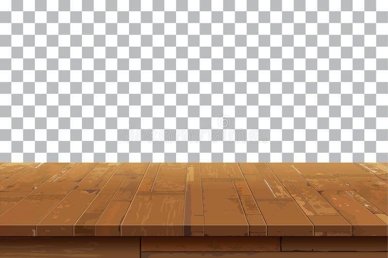 Pusty drewniany stołowego wierzchołka tło Stary rocznik półki tex royalty ilustracja