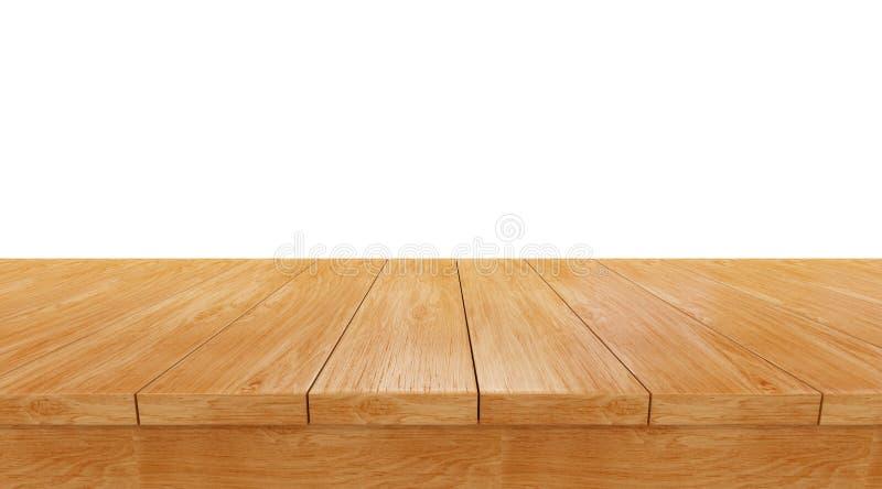 Pusty drewniany stołowy odgórny odosobniony na białym tle, fotografia stock