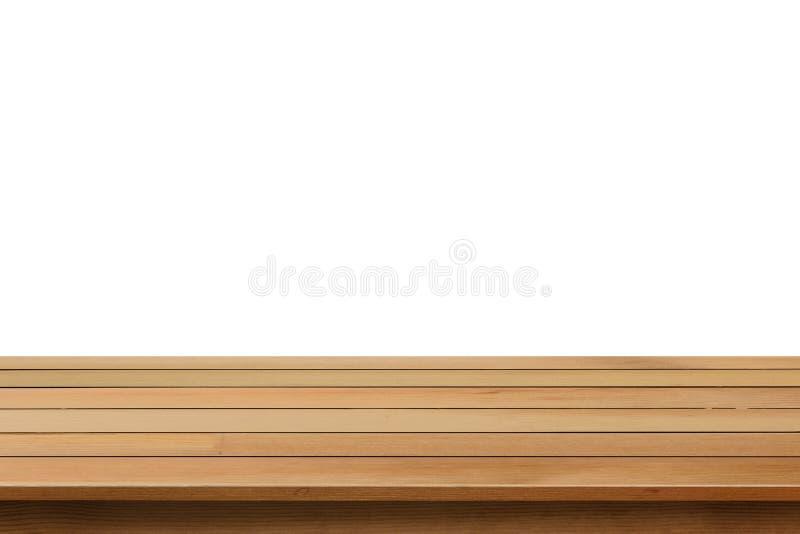 Pusty drewniany stołowy odgórny odosobniony na białym tle obrazy stock