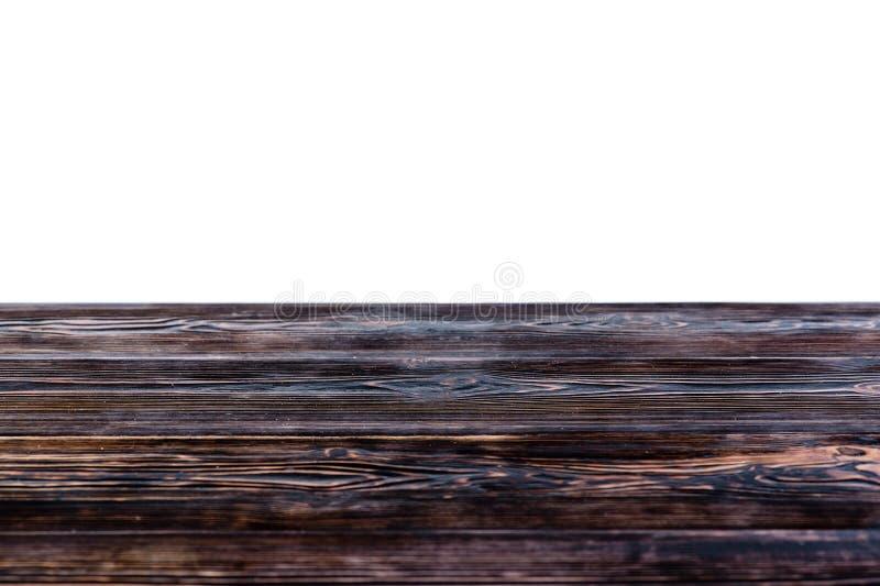 Pusty drewniany stołowy odgórny odosobniony na białym tle Use dla stawiający obraz stock