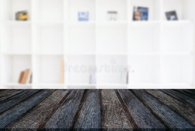 Pusty drewniany stołu i plamy tło abstrakt przed m zdjęcie royalty free