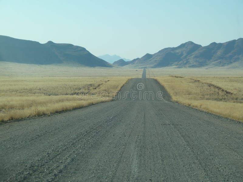 Pusty drogowy kłoszenie w horyzont Namibia obraz stock