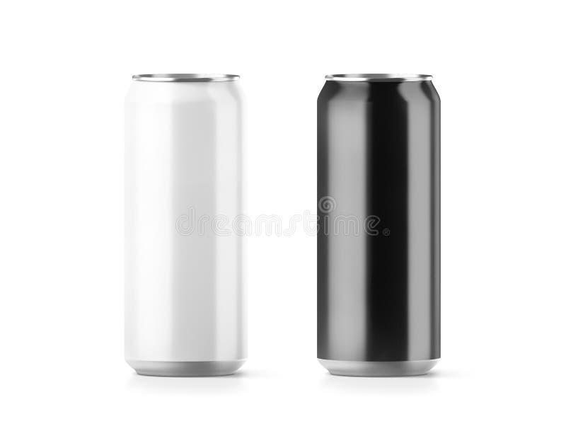 Pusty duży czarny i biały aluminiowy sodowanej puszki mockup set ilustracji