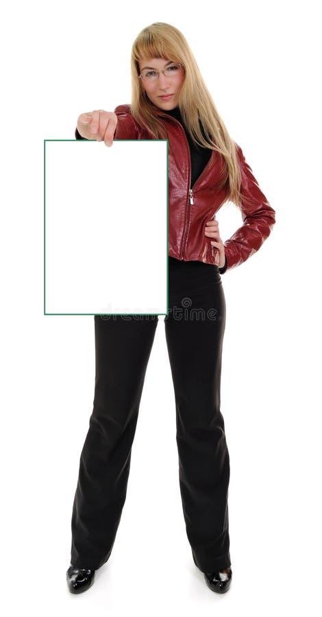 pusty dziewczyny mienia znak zdjęcie stock
