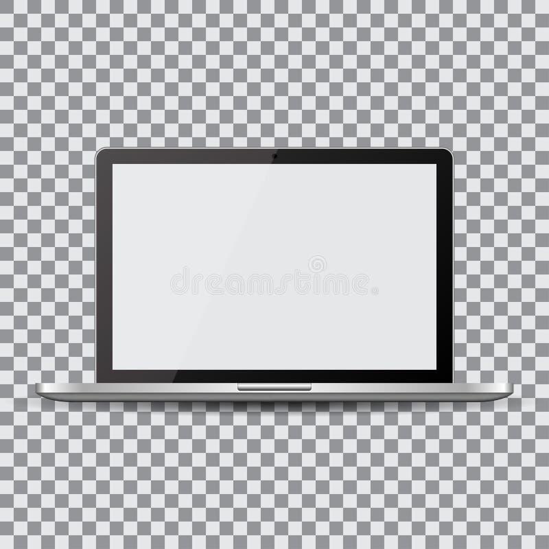 pusty ekran Realistyczny laptop na przejrzystym tle royalty ilustracja