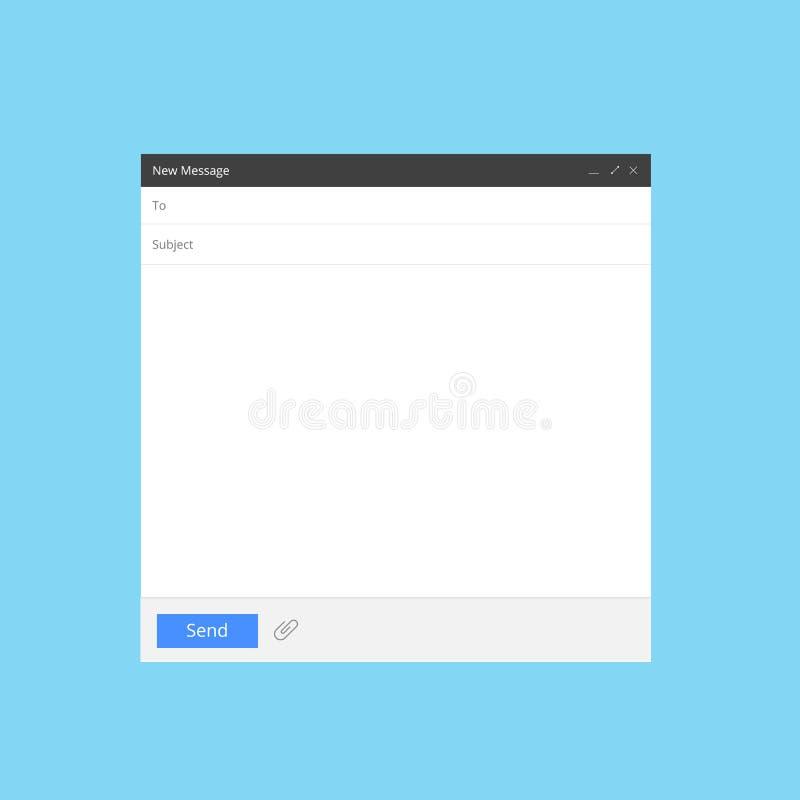 Pusty emaila ekran Poczty wiadomości interfejsu mockup pustego interneta nadokienny komputer, pudełkowata strony sieci oprogramow royalty ilustracja