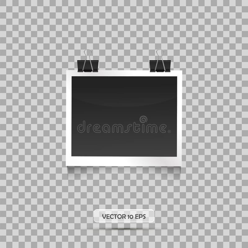 Pusty fotografii ramy obwieszenie na segregatorze tło przejrzysty ilustracyjny retro stylu wektoru rocznik Opróżnia miejsce dla t ilustracja wektor