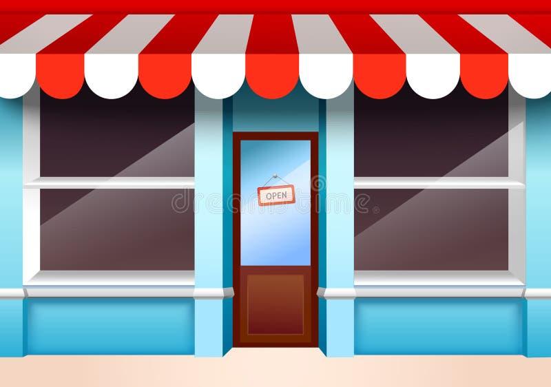 pusty frontowy centrum handlowego sklepu pasek ilustracji