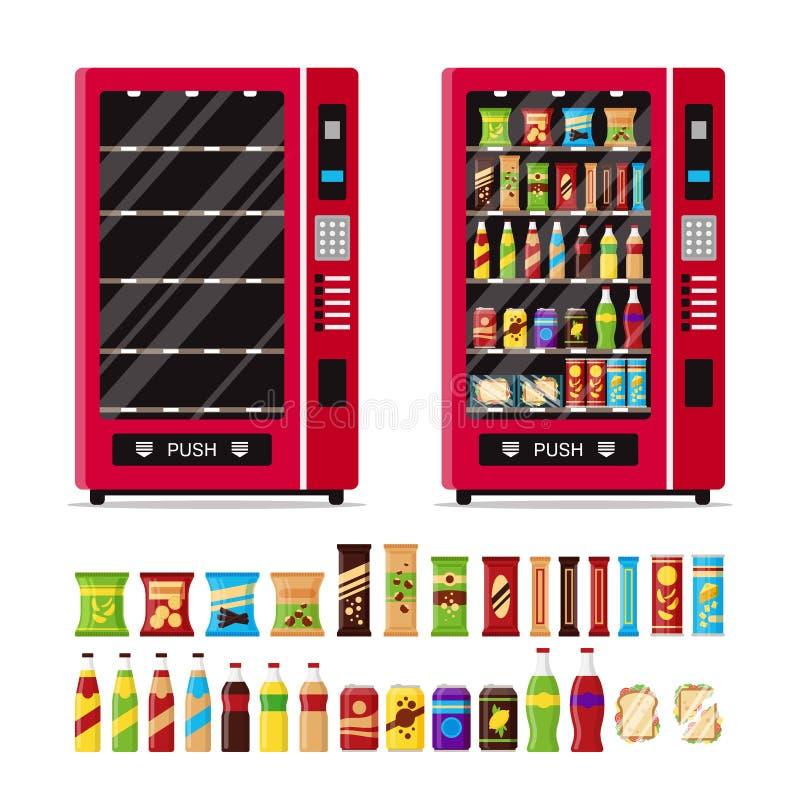Pusty i pełny automat z Automat z fast food przekąskami ilustracja wektor