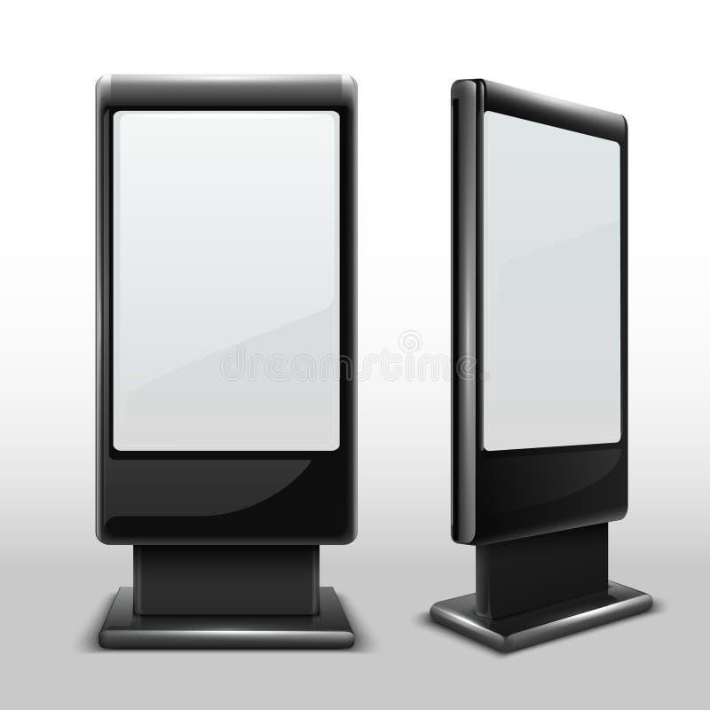 Pusty interaktywny plenerowy kiosk Cyfrowego tv dotyka trwanie ekran odizolowywał wektorowego mockup ilustracji