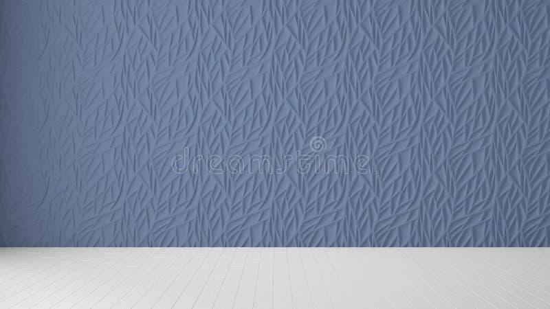 Pusty izbowy wewnętrzny projekt, błękitny panel i drewniana pusta podłoga, nowożytny architektury tło z kopii przestrzenią, szabl zdjęcie royalty free