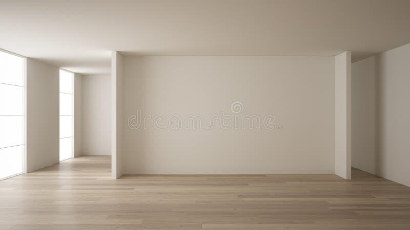 Pusty izbowy wewn?trzny projekt, otwarta przestrze? z biel ?cianami, nowo?ytny styl, parkietowa drewniana pod?oga, minimalistyczn ilustracja wektor