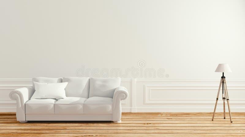 Pusty izbowy wnętrze - Skandynawski wnętrze ?wiadczenia 3 d ilustracji