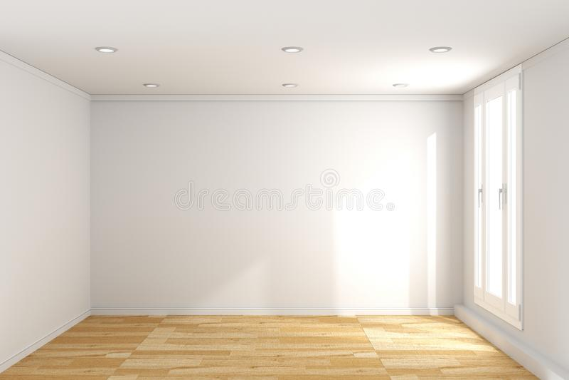 Pusty izbowy wnętrze z drewnianą podłogą na biel ściany tle ?wiadczenia 3 d royalty ilustracja