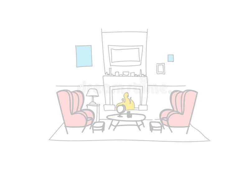 Pusty karło graby wewnętrznej dekoracji nakreślenia blisko dekorujący nowożytny domowy doodle horyzontalny ilustracja wektor