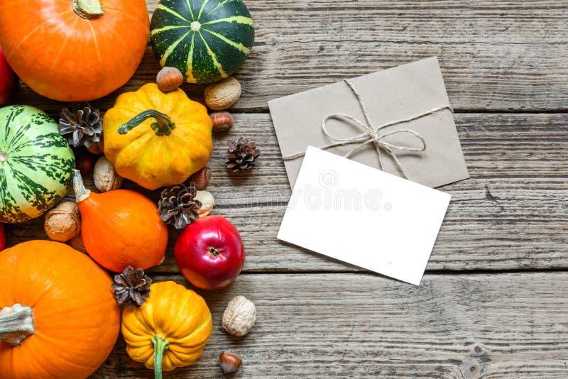 Pusty kartka z pozdrowieniami i koperta z dziękczynienie jesieni spadku tłem z zbierać baniami, jabłka, dokrętki obrazy royalty free