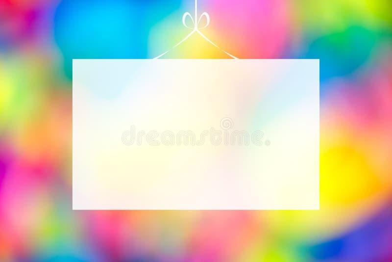 Pusty kartka z pozdrowieniami na multicolor fullcolor kolorowym abstrakcjonistycznym rozmytym bokeh zbliżenia tekstury tle fotografia royalty free