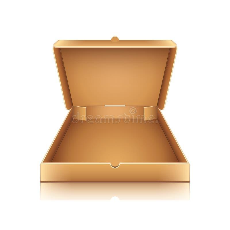Pusty kartonowy pizzy pudełko na białym wektorze ilustracja wektor