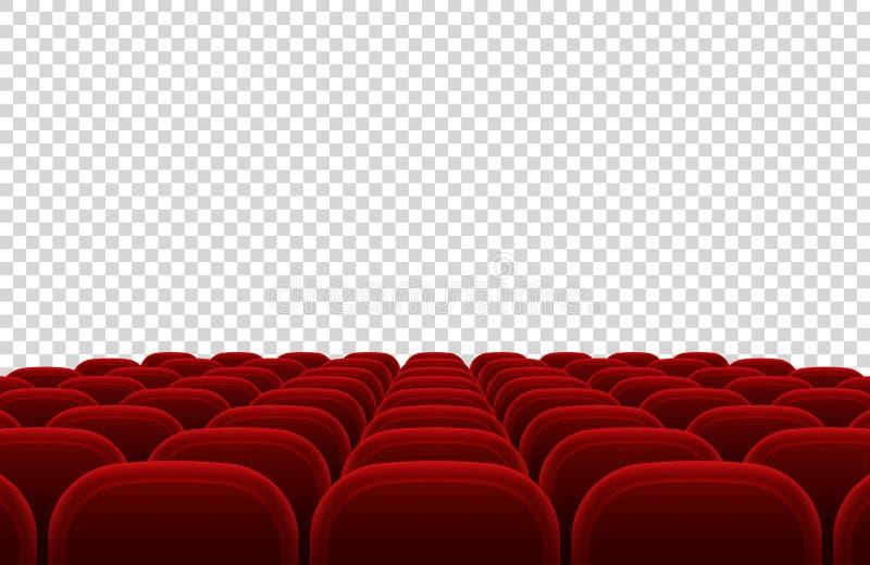 Pusty kina audytorium z czerwonymi siedzeniami Kinowej sala wewnętrzna wektorowa ilustracja ilustracja wektor
