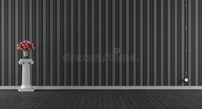 Pusty klasyczny czarny pokój ilustracja wektor