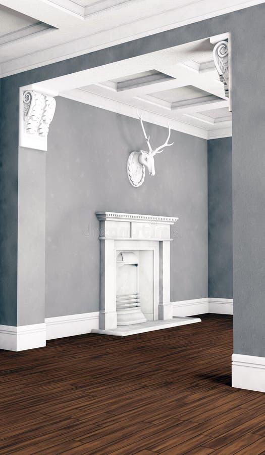 Pusty klasyczny pokój z grabą ilustracji