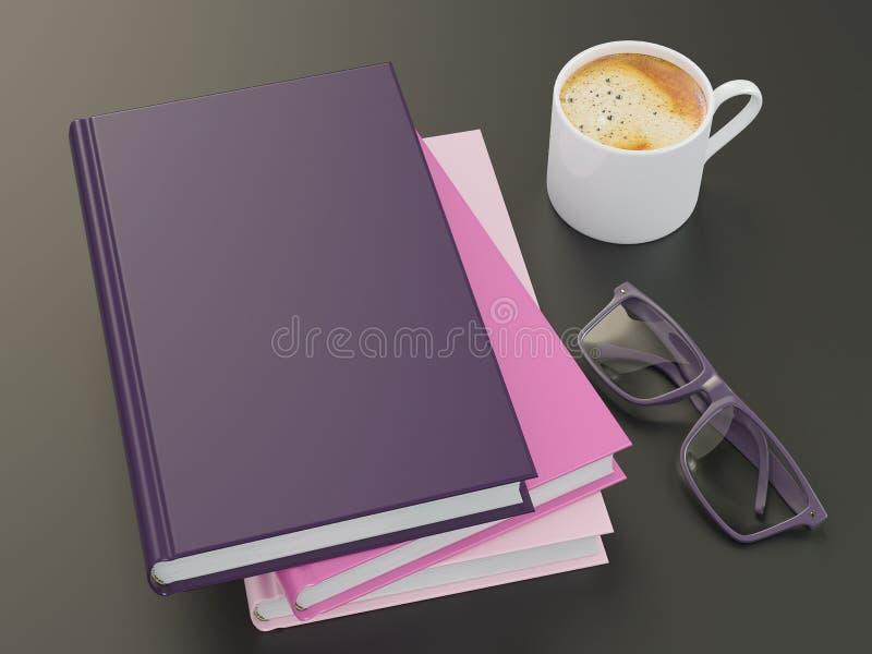 Pusty kolor książki mockup szablon na czarnym tle fotografia royalty free