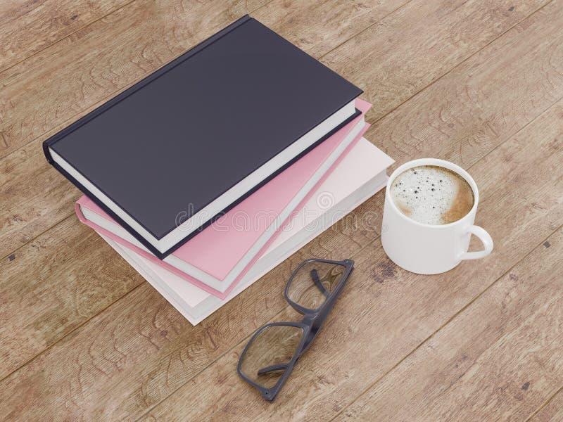 Pusty kolor książki mockup szablon na drewnianym tle fotografia royalty free