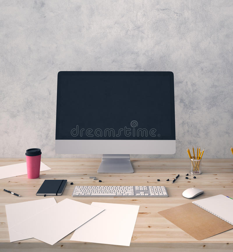 Pusty komputer na biurowym desktop ilustracja wektor