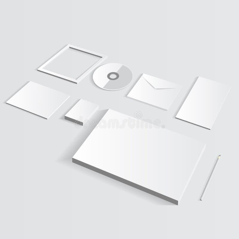 Pusty Korporacyjny set odizolowywający na popielatym egzaminie próbnym up ilustracji