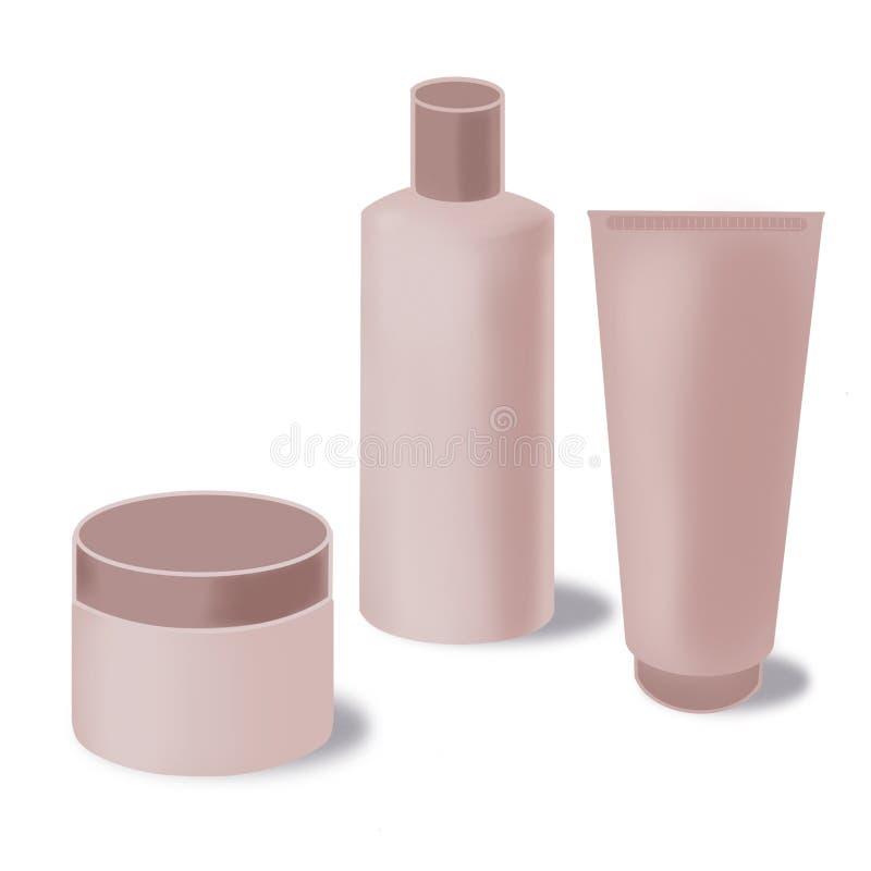 Pusty kosmetyka produkt pakuje set, kremowa tubka, szampon butelka, kremowy zbiornik odizolowywający na białym backgorund royalty ilustracja