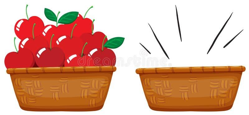 Pusty kosz i koszykowy pełny jabłka royalty ilustracja