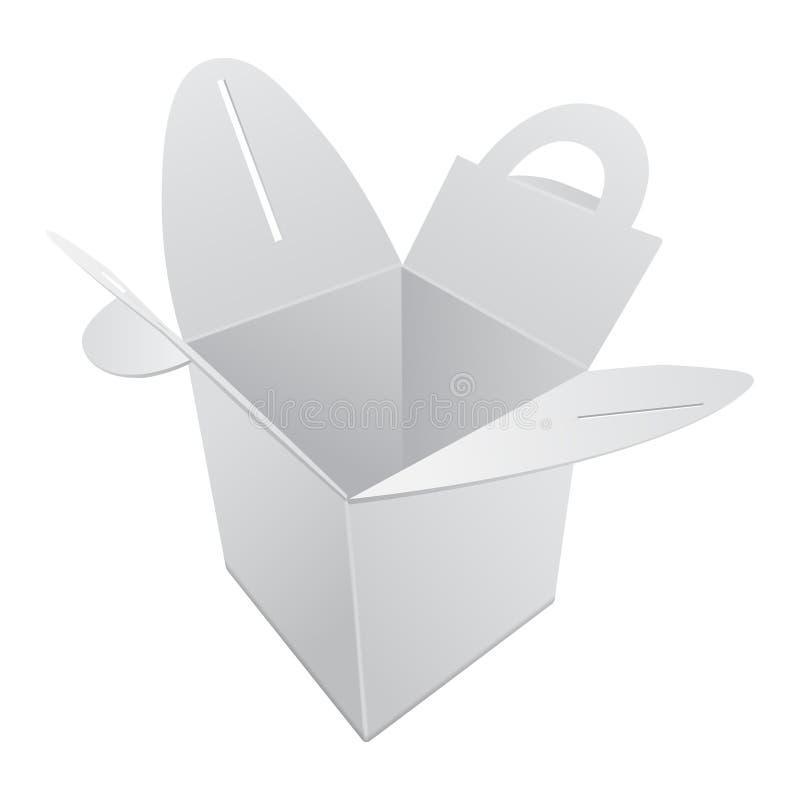 Pusty Kraft papieru prezenta pudełka mockup Biały zbiornik z rękojeścią Wektorowy prezenta pudełka szablon, Kartonowy pakunek ilustracji