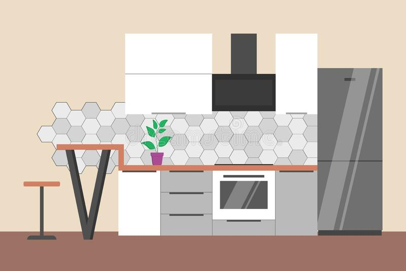 Pusty kuchenny wnętrze Fridge, piekarnik i domowy meble, ilustracja wektor