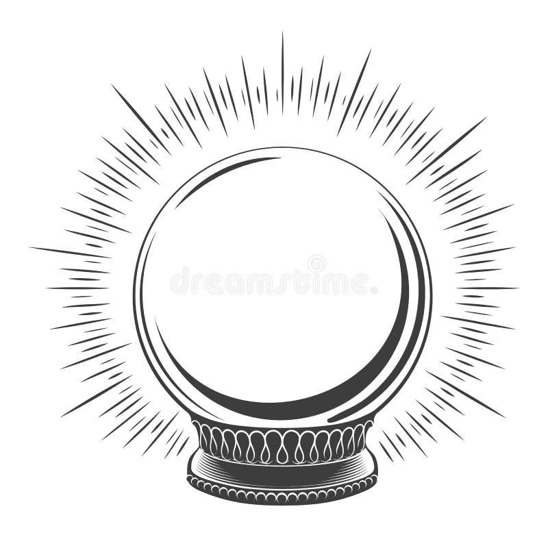 Pusty magiczny kuli ziemskiej nakreślenie ilustracja wektor