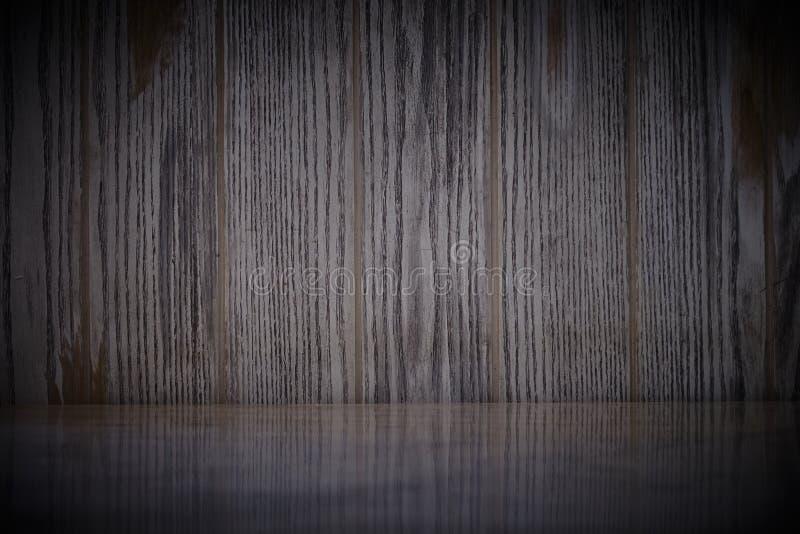 Pusty marmuru st?? na ciemnej starej drewno ?ciany teksturze z naturalnym wzoru t?em obrazy stock