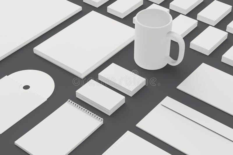 Pusty materiały i Korporacyjny ID szablon odizolowywający na popielatym ilustracja wektor