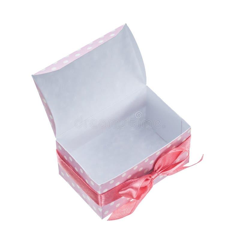Pusty menchii teraźniejszości pudełko odizolowywający na bielu fotografia stock