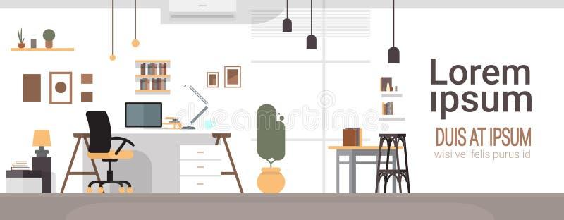 Pusty miejsce pracy, biurka krzesła Workspace Komputerowy biuro Żadny ludzie royalty ilustracja
