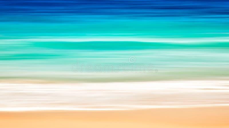 Pusty morza i plaży sztuki tło z kopii przestrzenią, Długi ujawnienie, plama ruchu błękitny abstrakcjonistyczny rocznik zabarwiał zdjęcia royalty free